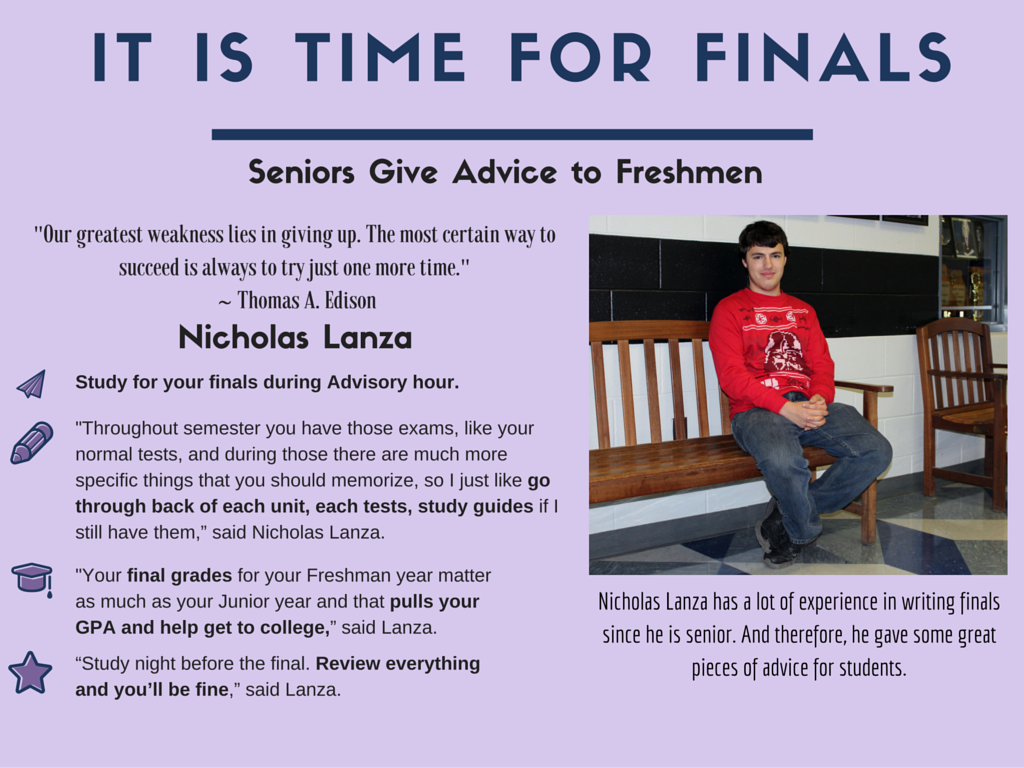 senior advice for freshmen regarding finals 1 2