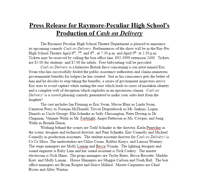 Cash on Delivery press release