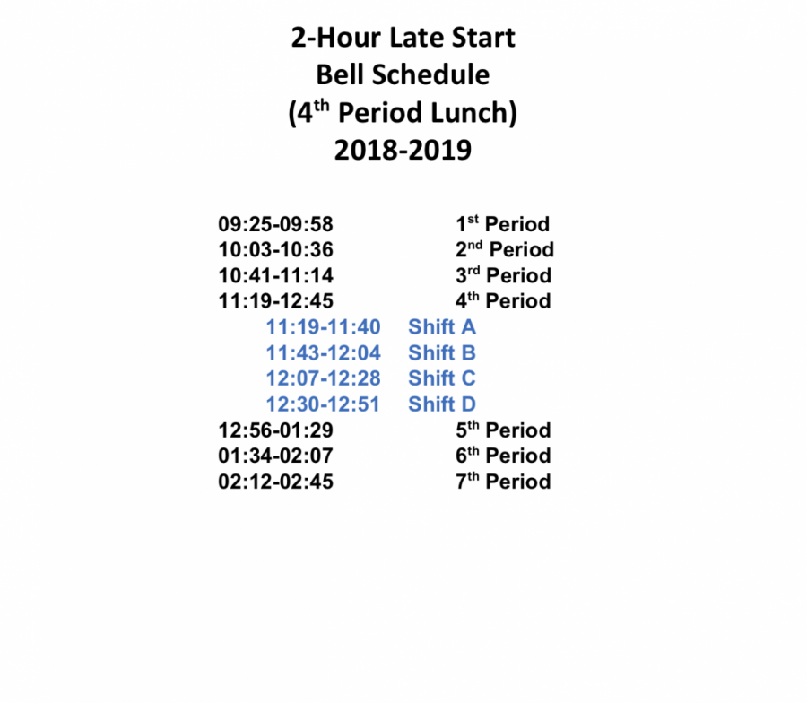 2 hour late start for Monday March 4th